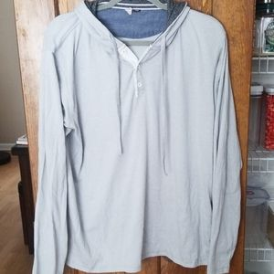 Grey hooded long sleeve